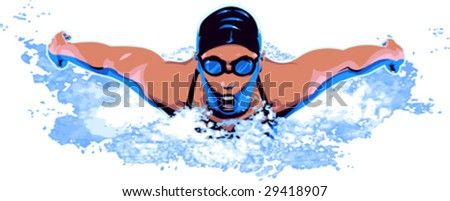 vector clip art illustration of woman swimmer in competitive swimming event - stock vector