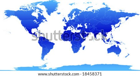 Vector clip art map of the world, with all countries and borders showing. Antarctica is included. Reference source: http://www.lib.utexas.edu/maps/ - stock vector