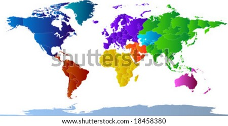 Vector clip art map of the world, with all countries and borders showing. Continents are distinctively colored. Antarctica is included. Reference source: http://www.lib.utexas.edu/maps/