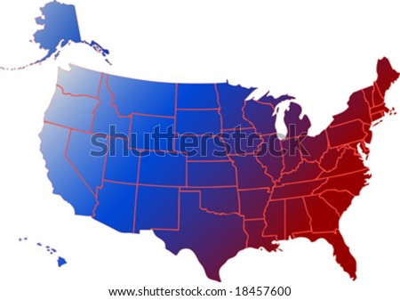 Vector Clip Art Map Usa All Stock Vector Shutterstock - Usa map with hawaii and alaska