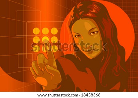 vector clip art of a cute girl in formal clothes and focused but smiling facial expression, pushing virtual touch screen access button in virtual security room