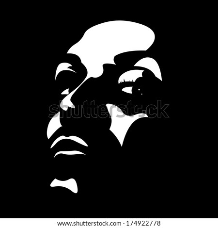 Vector clip art portrait of a person looking up at camera high contrast over black