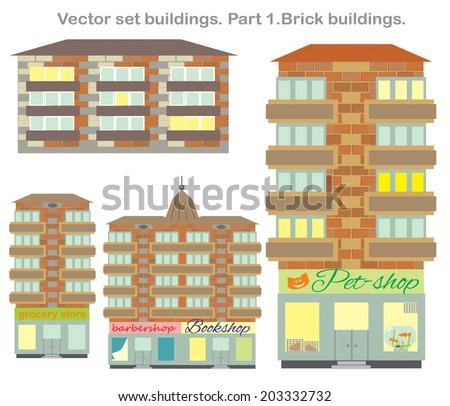 Vector Clip Art Set BuildingsPart 1 Brick Buildings