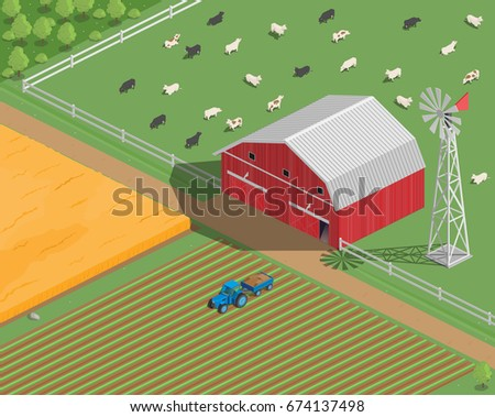 Vector Clipart Farm Country House Barn Village Isometry 3D Pasture