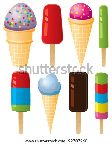 vector clipart of colorful icecream and popsicles - stock vector