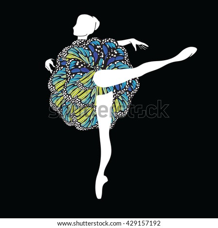 Vector clipart with silhouette figure of ballerina in motley ballet-skirt - stock vector