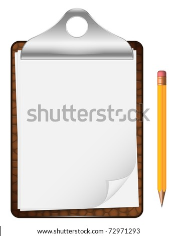 Vector clipboard with an empty sheet of paper and pencil isolated on the white background - stock vector