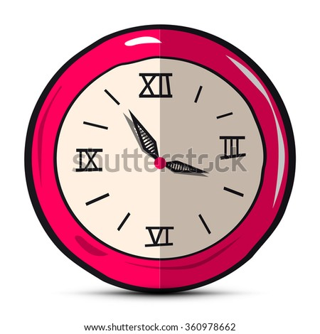 Vector Clock Face Hand Drawn Illustration Isolated on White Background - stock vector