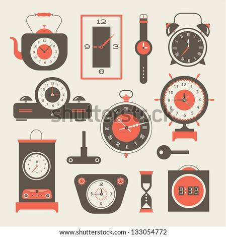 Vector clock icons set - stock vector