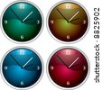 Vector clock variation of four colourful time pieces - stock vector