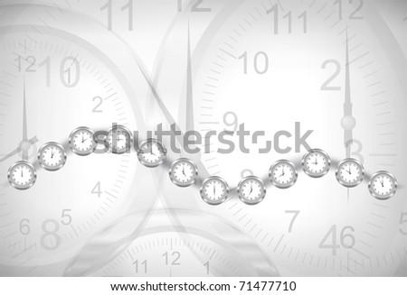 Vector clocks background - stock vector