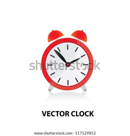 vector clocks Icon. red alarm clock. - stock vector