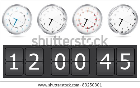 vector clocks set - stock vector