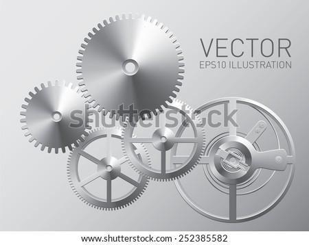 Vector clockwork with metal gears and cogwheels, technology background - stock vector