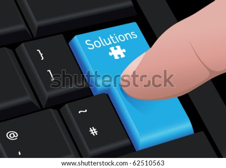 Vector close up of a finger pressing a blue colored solutions key with puzzle symbol, on a black keyboard. Conceptual illustration.