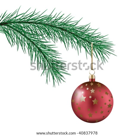 Vector. Close up of Christmas decoration on a fur-tree. Is isolated on white. - stock vector