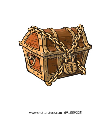 Vector Closed Locked Chained Wooden Treasure Stock Vector ...