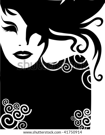 "Vector closeup Decorative portrait of woman with long hair (From my big ""Vintage woman collection "") - stock vector"