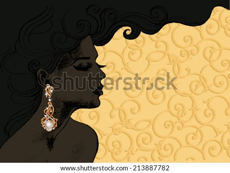 Vector closeup portrait of a girl with beautiful hair .Beautiful woman in expensive gold earrings - stock vector