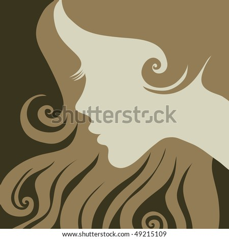 """Vector closeup portrait of a girl with beautiful hair in ornate dress (from my big """"Vintage girl collection"""") - stock vector"""