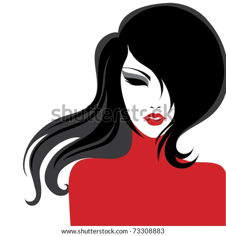 "Vector closeup portrait of a girl with beautiful hair in red dress (from my big ""Vintage girl collection"") - stock vector"