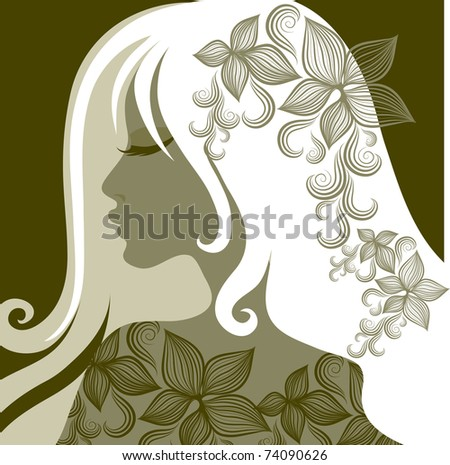 "Vector closeup portrait of woman with flower in long hair (From my big ""Vintage woman collection "") - stock vector"