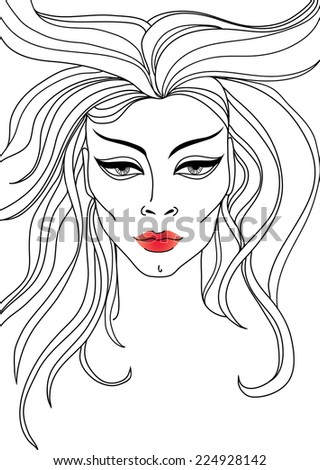Vector closeup portrait of woman with red lips and long hair - stock vector