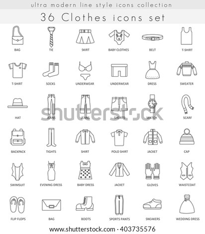 Vector Clothes and footwear ultra modern outline line icons for web and apps. Clothes footwear icons set, clothes footwear line icon, clothes footwear icons isolated, Clothes footwear line draw icons - stock vector