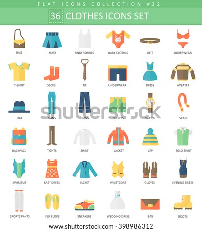 Vector Clothes color flat icon set. Elegant style clothes an shoes icons design for web and app.  - stock vector