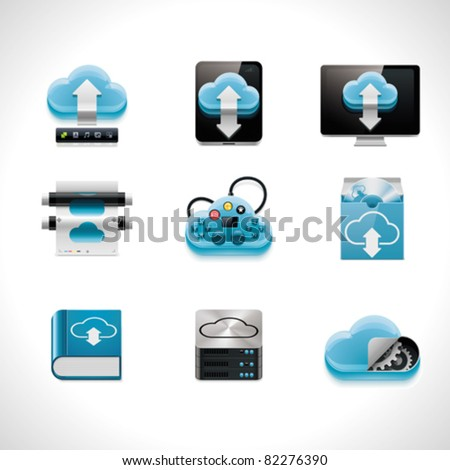Vector cloud computing icon set - stock vector