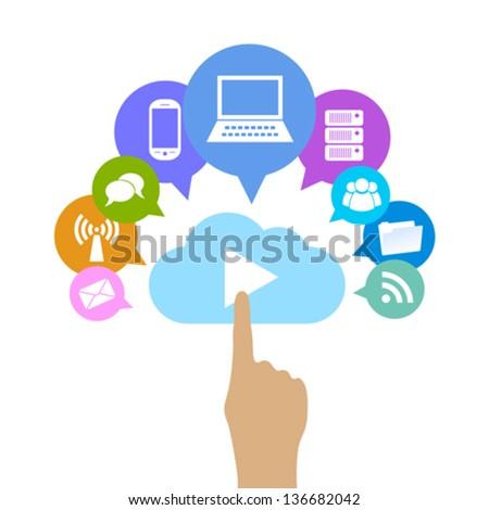 Vector cloud computing illustration - stock vector