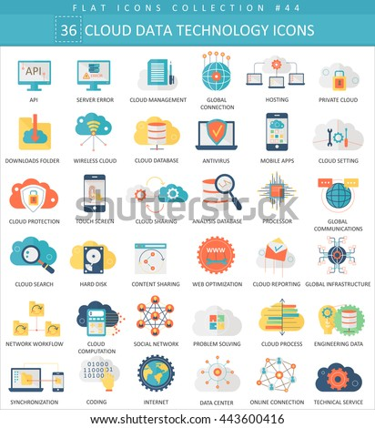 Vector Cloud data technology color flat icon set. Elegant style design. Cloud data technology analysis icons, Cloud data technology signs icons for application - stock vector