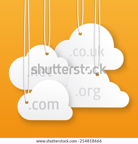 Vector cloud hosting illustration. Little hanging clouds with place for your text. - stock vector