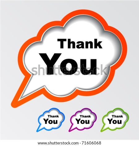 vector cloud speech bubbles thank you - stock vector