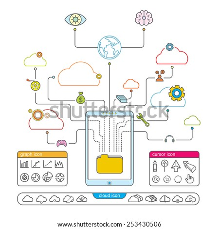 vector cloud technology smartphone, line icon infographic design - stock vector