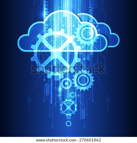 vector cloud technology system background, illustration - stock vector