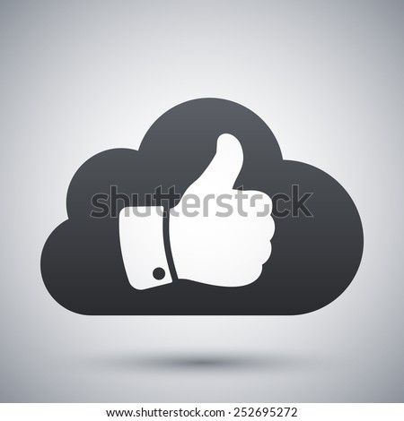 Vector cloud with thumb up icon - stock vector
