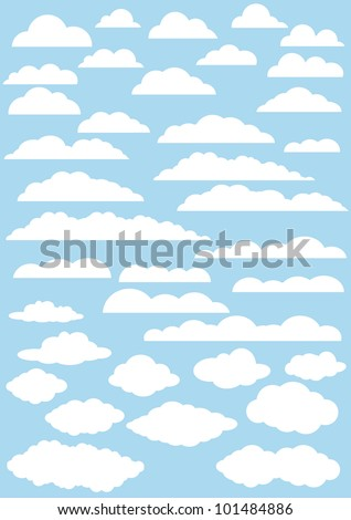 vector clouds collection. 37cute clouds - stock vector
