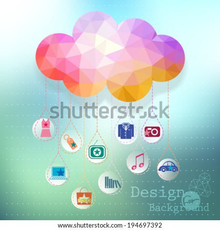 Vector: clouds e-commerce concept, site template in cloud form illustration. - stock vector