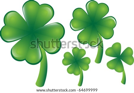 Vector clover, different versions, four or three leafs. They can be scaled individually at any desired size. - stock vector