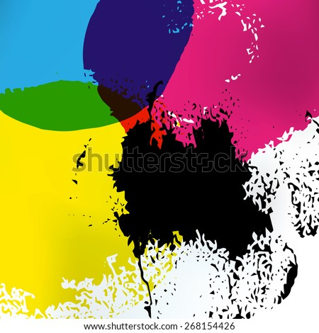 Vector CMYK circles art. CMYK print service business background. Printing technology presentation template. Polygraphic colors banner. - stock vector
