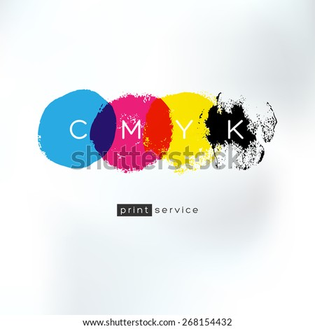 Vector CMYK drawing logo concept. CMYK identity for print service business. Printing technology emblem. Polygraphic colors. - stock vector