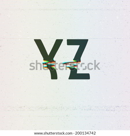 Vector CMYK Print Distortion Glitch Font from Y to Z - stock vector