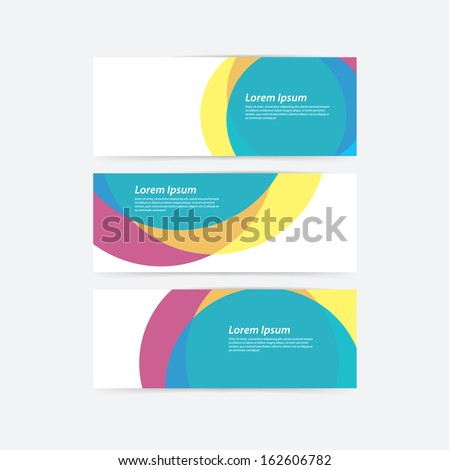 Vector cmyk template. Colorfully banner - template with place for your content. Three overlay circles in different colors. - stock vector