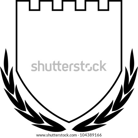 Vector coat of arms - Shield and Laurel Wreath isolated - stock vector