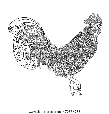Vector Cock Rooster Coloring Page Stock Vector 472536988 - Shutterstock