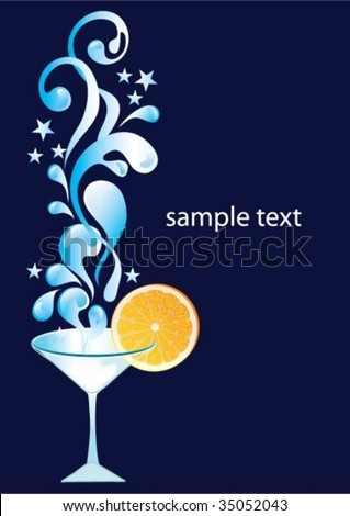Vector cocktail with orange and splash - stock vector