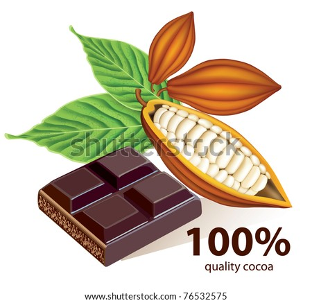 Vector cocoa beans with chocolate bar - stock vector