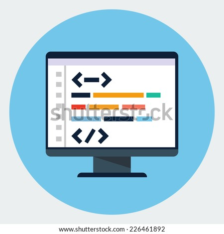 Vector coding icon - stock vector