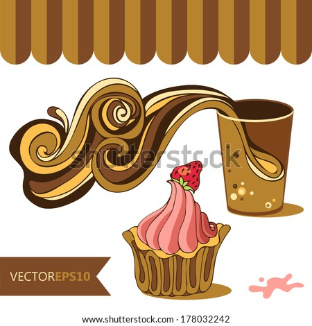 vector cofee cupcake cafe set on white background  - stock vector